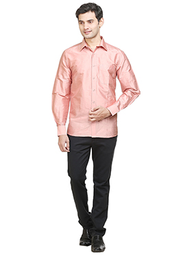 Peach Pure Silk Classic Shirt