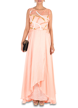Peach Satin Dress