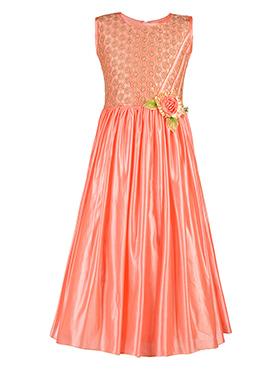 Peach Satin Kids Gown