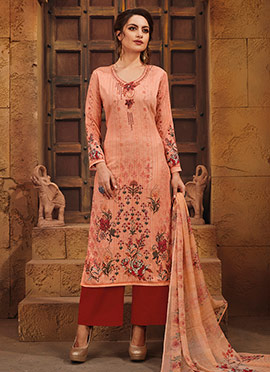 Peach Satin Palazzo Suit