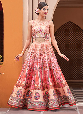 Peach Satin Silk Anarkali Gown