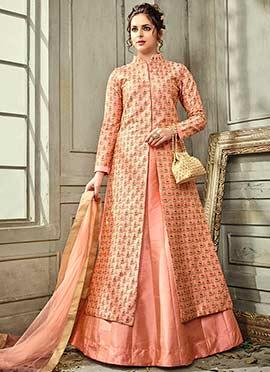 Peach Satin Silk Long Choli Lehenga