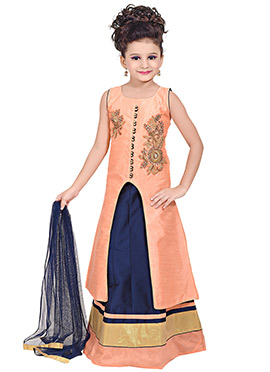 Peach Silk Center Slit Long Choli Lehenga