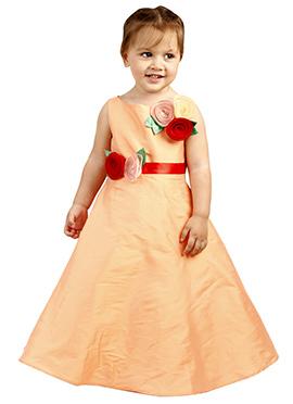 Peach Taffeta Silk Kids Gown