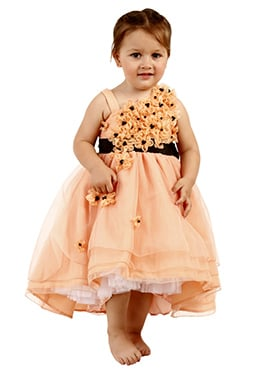 Peach Taffeta Silk Net Kids Dress
