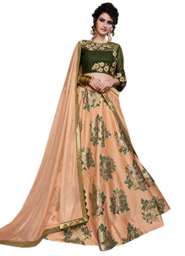 Peach Tussar Silk Umbrella Lehenga