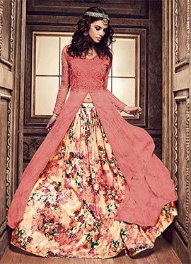 Peach Umbrella Long Choli Lehenga