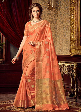 Peach Uppada Art Silk Saree