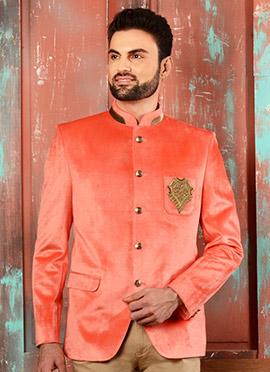 Peach Velvet Bandhgala Jacket