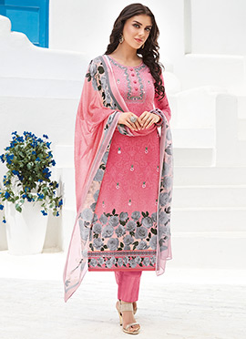 Peach Viscose Churidar Suit