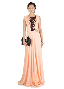 Peach Waist Cut Anarkali Gown