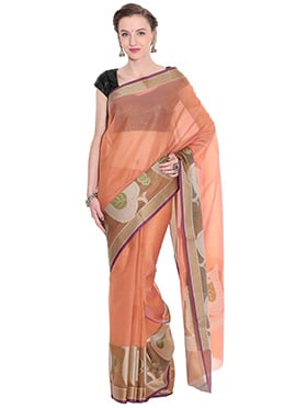 Peach Zari N Resham Woven Border Saree