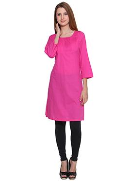 Peachish Pink Lingra Viscose Short Kurti