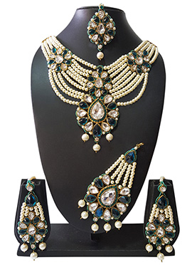 Peacock Green N Off White Beads N Kundan Necklace