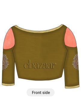 Peanut Butter Brown Art Dupion Silk Cold Shoulder Embroidered Blouse