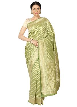 Pear Green Art Benarasi Silk Saree