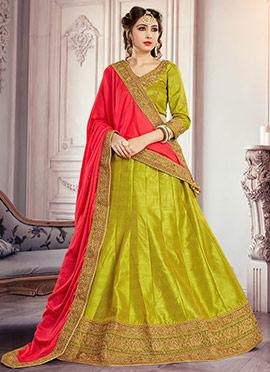 Pear Green Art Silk A Line Lehenga Choli