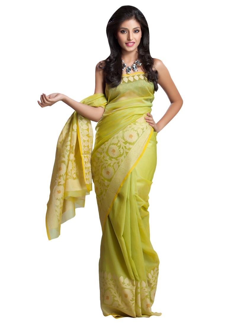 ddc092a886 Buy Pear Green Benarasi Art Tussar Silk Saree, Benarasi , Zari ...