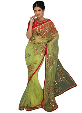 Pear Green Embellished Net Saree