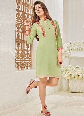 Pear Green Georgette Embroidered Kurti