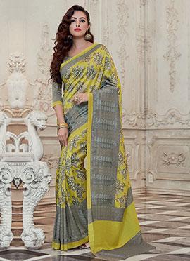 Pear Green N Grey Bhagalpuri Art Silk Printed Saree