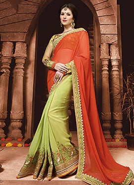 Pear Green N Orange Georgette Half N Half Saree