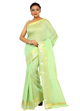 Pear Green Zari Weaved Border Saree