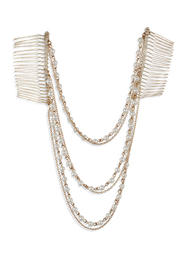 Pearl Embellished Multilayered Hair Chain