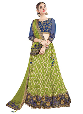 Peer Green A Line Lehenga Choli
