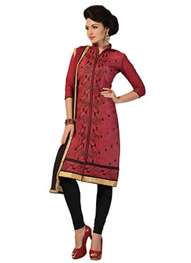 Persian Red Chanderi Silk Cotton Churidar Suit