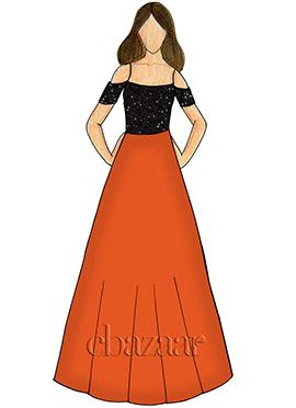 Persimmon Orange Georgette Cold Shoulder Gown