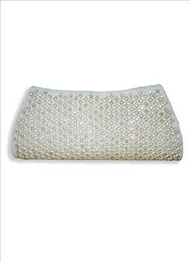 Picturesque White Art Dupion Silk Clutch