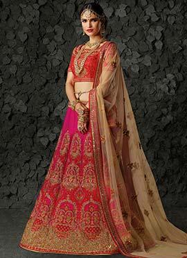 Pink A Line Bridal Lehenga