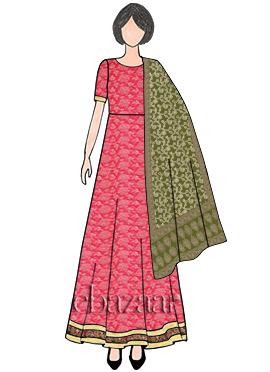 Pink Abaya Style Anarkali Suit N Benarasi Dupatta