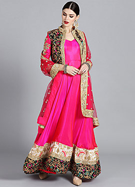 Pink Anarkali Jacket Set