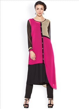 Pink And Black Georgette Plus Size Kurti