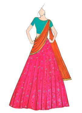 Pink and Orange Patola Lehenga Saree