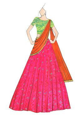 Pink and Orange Patola Lehenga Saree