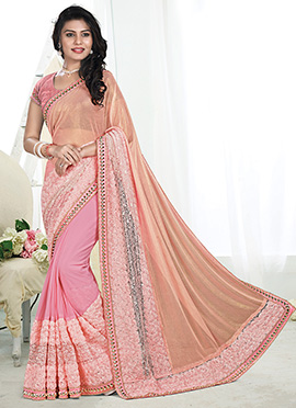 Pink and peach Georgette saree
