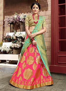 Pink Art Benarasi Silk A Line Lehenga