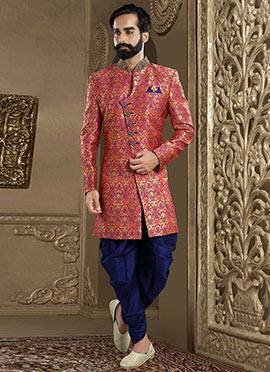 Pink Art Benarasi Silk Indowestern Sherwani