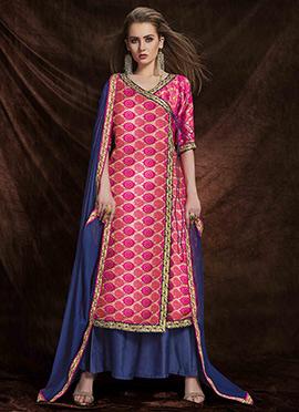 Pink Art Benarasi Silk Palazzo Suit