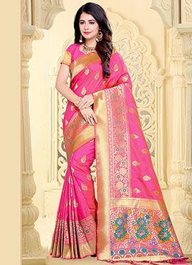Pink Art Benarasi Silk Saree