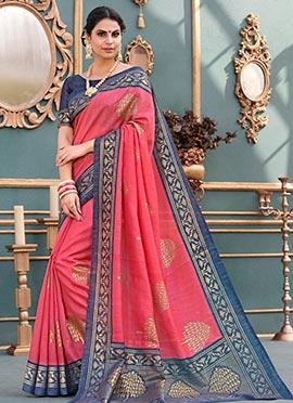 Pink Art Bhagalpuri Silk Saree