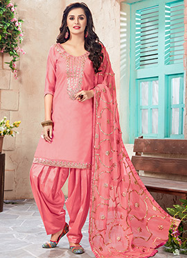 Pink Art Chanderi Silk Patiala Suit