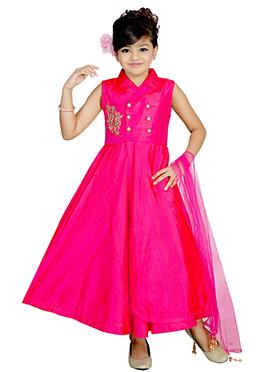 Pink Art Dupion Silk Kids Gown