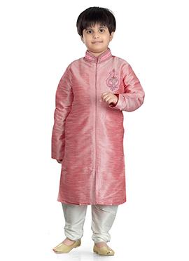 Pink Art Dupion Silk Kids Kurta Pyjama
