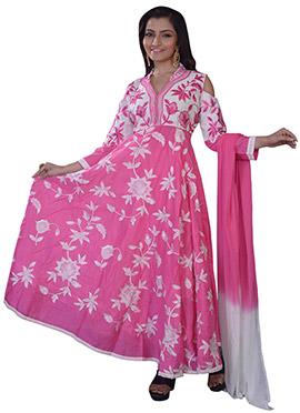 Pink Art Raw Silk Anarkali Suit