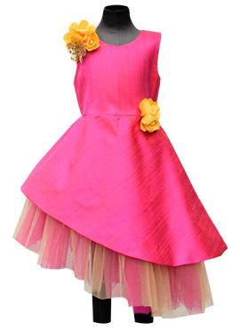 Fayon Pink Art Raw Silk Asymmetric Kids Dress