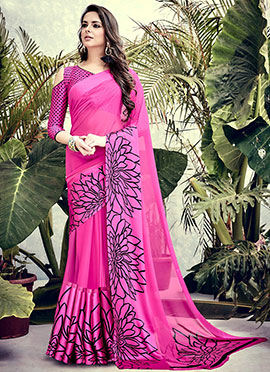 Pink Art Satin Silk Saree